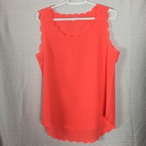 Shear Coral Tank top Scalloped Edges size Large